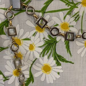 Vintage geometric gold silver chain belt